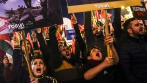 د ترکیې استانبول ښار کې مظاهره