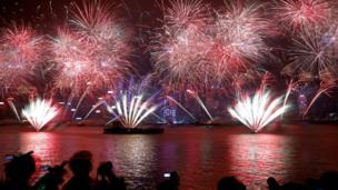 Tahun baru, kembang api, Hong Kong