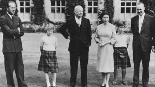 President Eisenhower (centre) with the British Royal family (L-R) Prince Philip, Princess Anne, HM Queen Elizabeth, Prince Charles and Captain John Eisenhower, at Balmoral Castle, Scotland, September 1959.