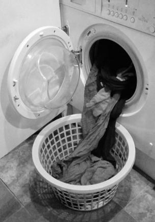 Washing coming out of a machine