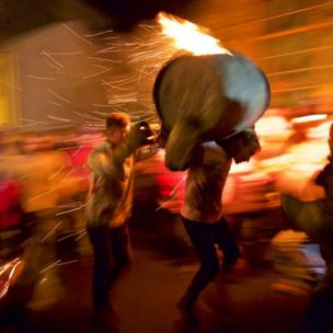 The traditional burning tar barrels of Ottery St Mary in Devon