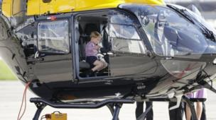 The day before his birthday, on 21 July 2017, Prince George sat in a helicopter while on a trip to Hamburg, Germany, with his sister and parents