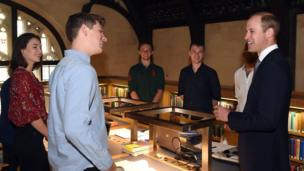 The Duke of Cambridge met students at Magdalen College's recently renovated Longwall Library at Oxford University, which has undergone an £11 million redesign