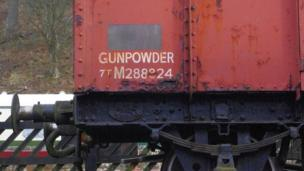 Gunpowder sign on the side of a rail wagon in York
