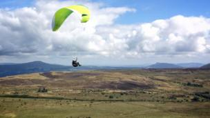 A paraglider over the hills of Blaenavon