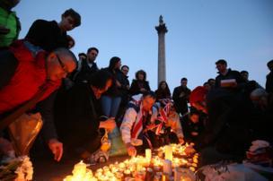 A vigil in Trafalgar Square, London for the victims of the terror attack