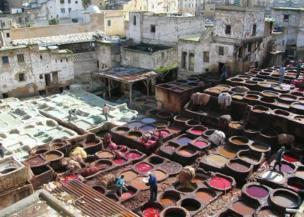 Colourful pots of dye, Fez, Morocco