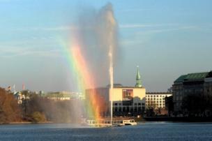 A rainbow from a fountain