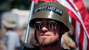 A right-wing demonstrator participates in the Denver March Against Sharia Law in Denver, Colorado on June 10, 2017.