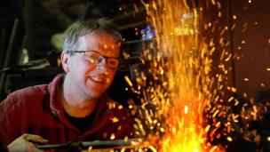 blacksmith Adam Booth at his forge in his forge at Kirkpatrick Durham.