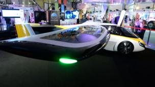 Slovakian company AeroMobil's flying car is displayed at Le Bourget on June 21, 2017