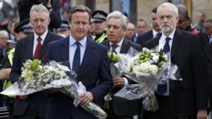 David Cameron, Jeremy Corbyn, Hilary Benn and Commons Speaker John Bercow in Birstall