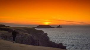The sunset at Worm's Head on Gower