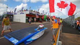 Blue Sky Solar Racing car Polaris from Canada dey contest for trial for Darwin.