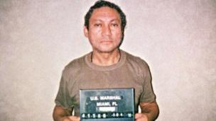 A handout made available by US Marshall taken on 04 January 1990 shows former Panamanian General Manuel Antonio Noriega on a jail of United States (reissued 30 May 2017