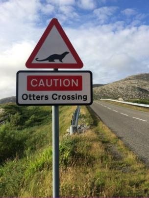 Otters Crossing sign on Scalpay