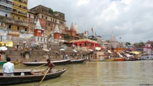 The bank of the Ganges in Varanasi