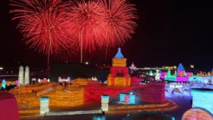 Fireworks display over the ice sculptures at the 33rd Harbin International Ice and Snow Festival in Harbin city, China's northern Heilongjiang province, 05 January 2017.