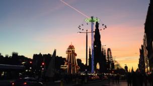 Festive lights in Edinburgh