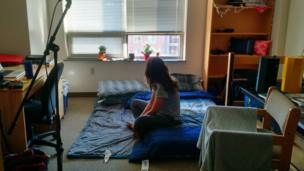 Woman on temporary bed