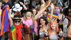 Cardiff city centre was a colourful sight on Saturday