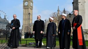 (From left) Archbishop of Canterbury, the Most Reverend Justin Welby, Chief Rabbi Ephraim Mirvis, Sheikh Khalifa Ezzat, Sheikh Mohammed al Hilli and Cardinal Vincent Nichols, Archbishop of Westminster