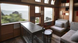 Inside the Shiki-shima train