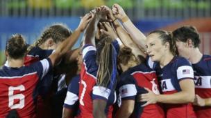 """Rio Olympics - Rugby - Women""""s Placing 5-6 France v USA - Deodoro Stadium - Rio de Janeiro, Brazil - 08/08/2016. Team USA huddles before the match"""