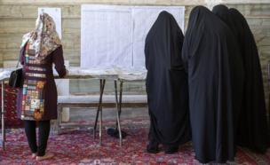 Iranians vote in the twelfth presidential election on May 19, 2017 in the city of Qom, south of the capital Tehran, Iran