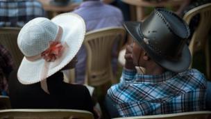 Country music fans wearing hats in Uganda