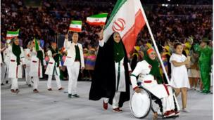 Team Iran arrives during the opening ceremony for the 2016 Summer Olympics in Rio de Janeiro, Brazil, Friday, Aug. 5, 2016