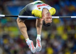 Reinhold Botzel GER competes in the Men's High Jump - T47 final