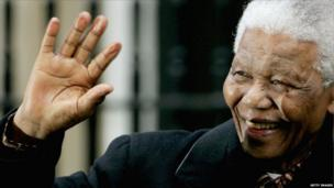 Mandela during a visit to the UK, 2004