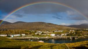 Rainbow over Tarbert on the Isle of Harris