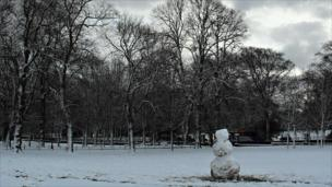 Snowman in park