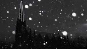 snow fall near Ballater Church