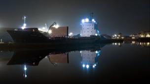 Cargo ship at Leith Docks