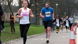 Runners in Edinburgh Meadows Marathon