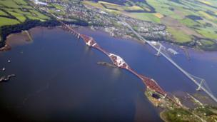 Aerial view of the Forth bridges
