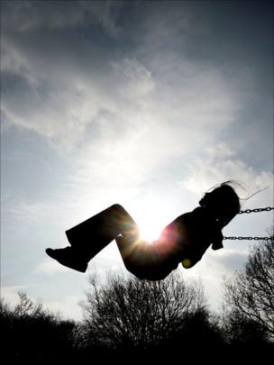 A young girl on a swing