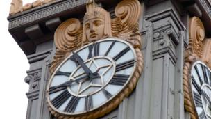 Faces of an ornamental clock tower