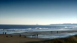 Whitley Bay's St Mary's lighthouse from Blyth