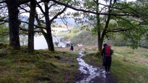 Walkers on a path along the West Highland Way