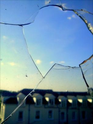 A broken pane of glass