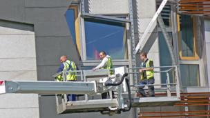 Maintenance crew at the Scottish Parliament