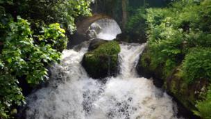 Waterfall in Rouken Glen Park