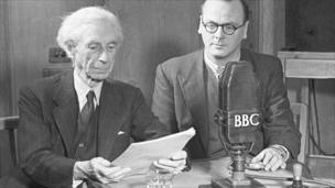 Philosopher Bertrand Russell and WM Newton, the editor of BBC Current Affairs Talks