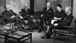 Dame Margery Perham, Reith Lecturer in 1961 and Professor Oliver Franks, Reith Lecturer 1954 (middle)