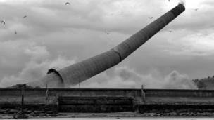 Chimney at Methil power station falls to the ground