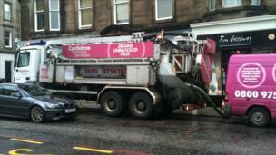 Drainage truck in Morningside, Edinburgh